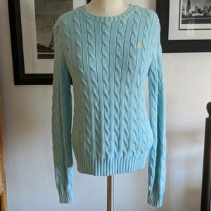 Ralph Lauren Baby Blue Cable Sweater Size Small